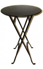 Round Narrow Side Table with X Legs Black