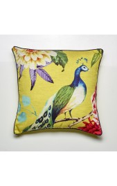 Peacock Feather Filled Cushion - GOLD
