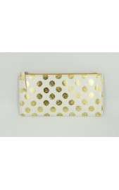 White Leather Pouch with Metallic Gold Spots